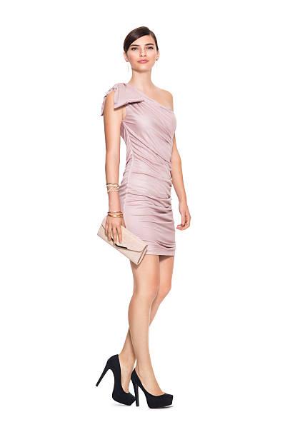 elegant beautiful woman - mini dress stock photos and pictures