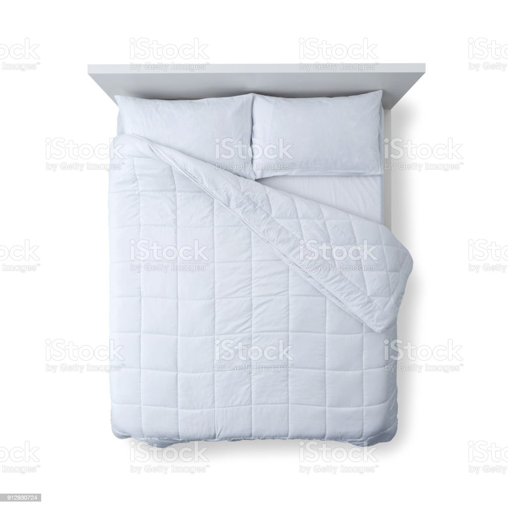 white bed top view. Elegant Bed Top View Royalty-free Stock Photo White