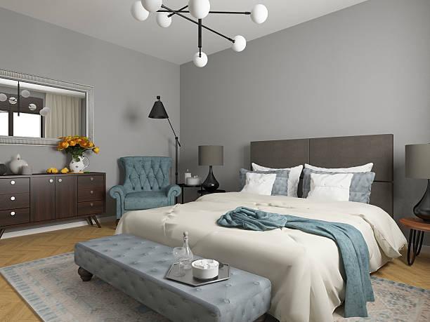 elegantes schlafzimmer-interieur - schlafzimmer stock-fotos und bilder
