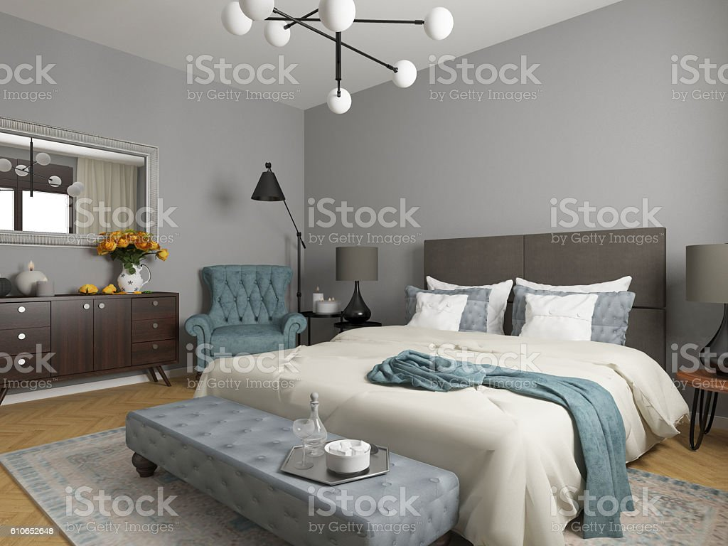 elegant bedroom interior - Photo