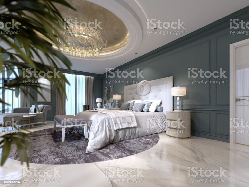 Elegant Bedroom Interior With Large Comfortable Bed And Sofa With Dressing Table And Plant Stock Photo - Download Image Now - IStock