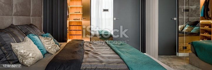 508860888 istock photo Elegant bedroom with mirror wall, panorama 1219150117