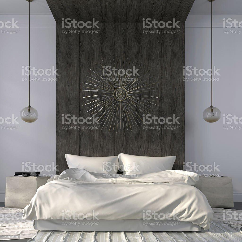 Elegant Bedroom Pics: Elegant Beige Bedroom With Wooden Decor Stock Photo & More