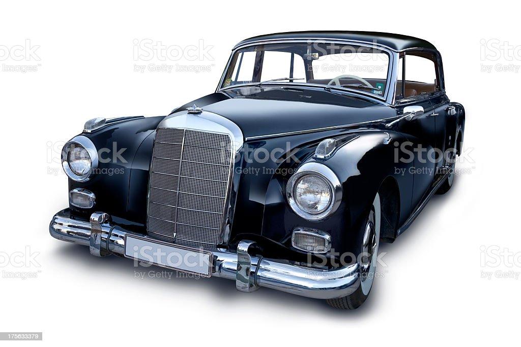 Elegant black retro car on white background stock photo