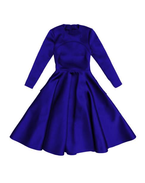 eleganten blauen satin abendkleid mit langen ärmeln - abendkleid lang blau stock-fotos und bilder
