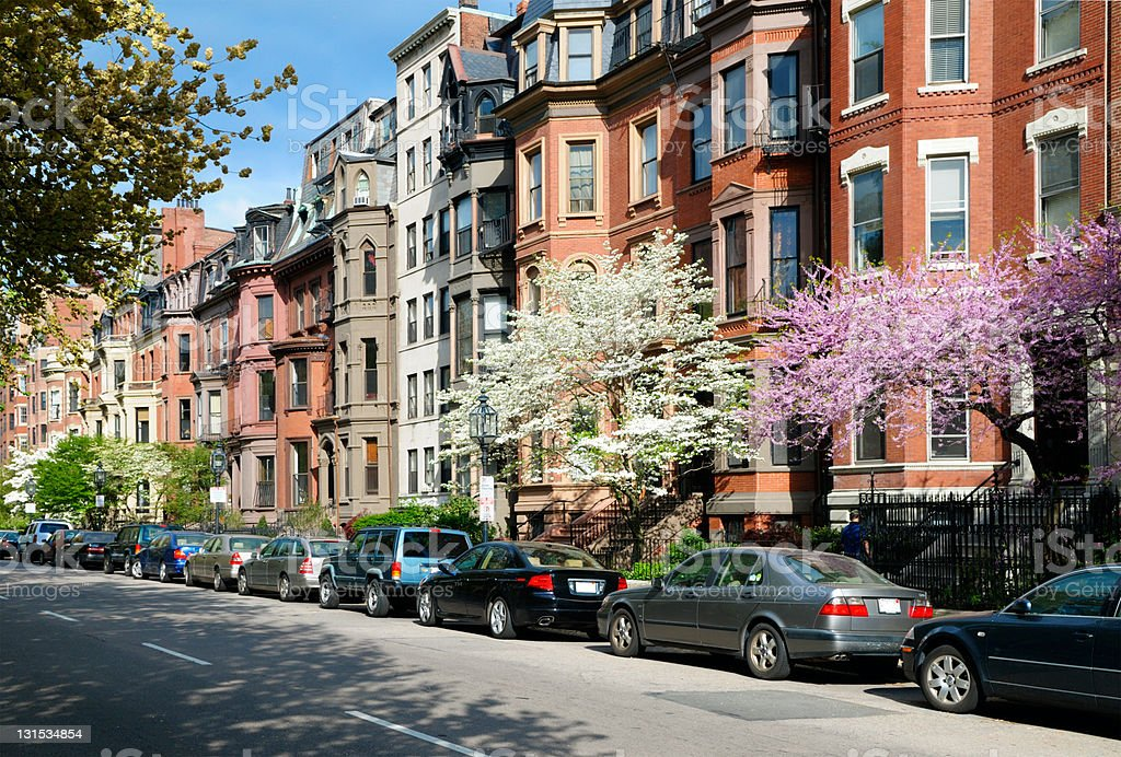 Elegant brownstones in Back Bay stock photo