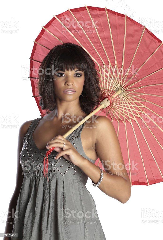 elegant brunette holding umbrella royalty-free stock photo
