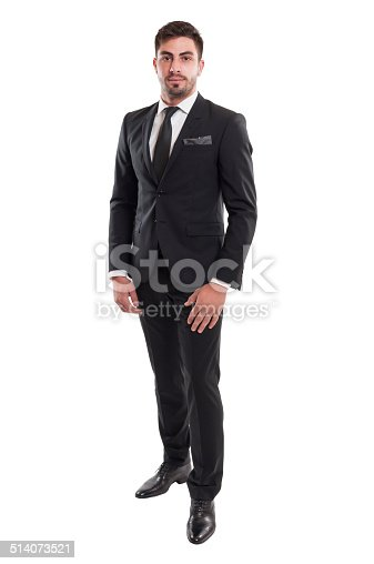 498403166 istock photo Elegant business man standing isolated on white background 514073521
