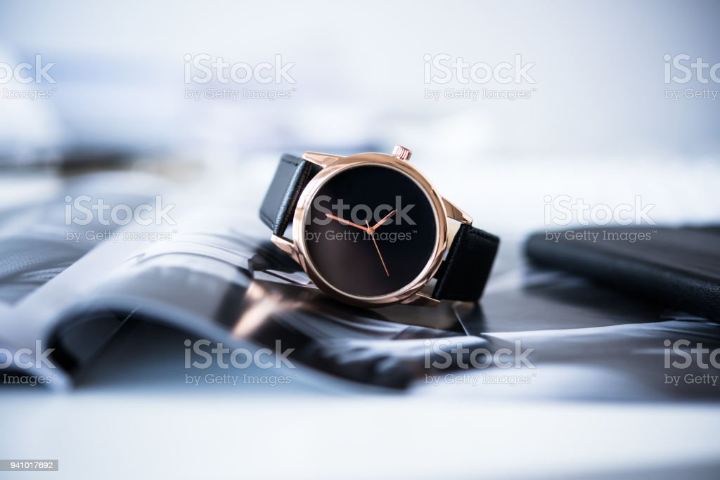 Elegant business men fashion no brand wrist watch, men fashion a stock photo