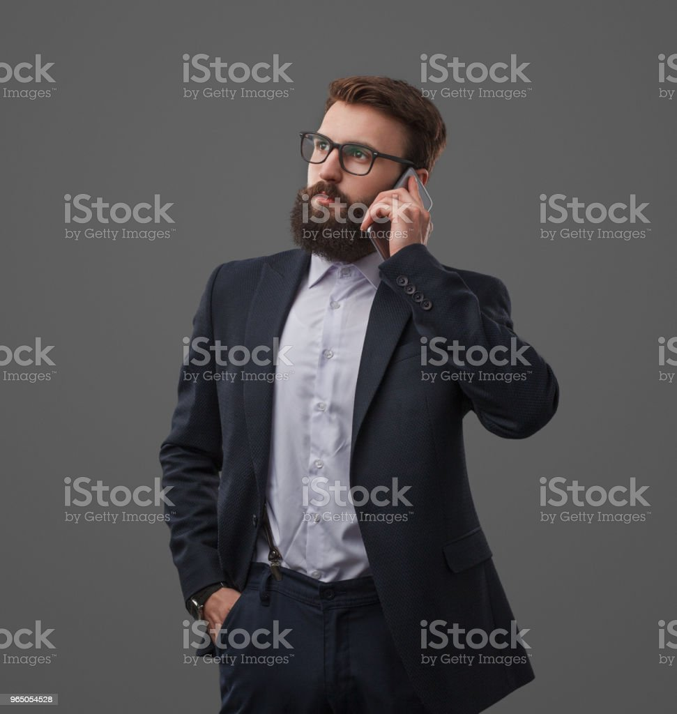 Elegant businessman having phone call royalty-free stock photo