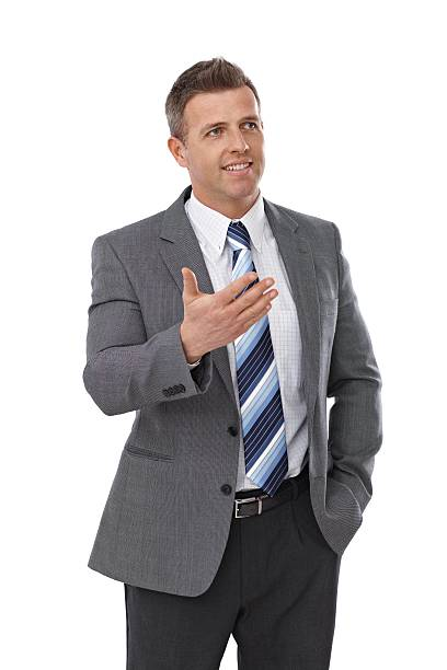 Elegant businessman talking stock photo
