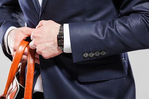 Elegant Businessman Wearing Jacket Close Up Of Hands Stock Photo - Download Image Now