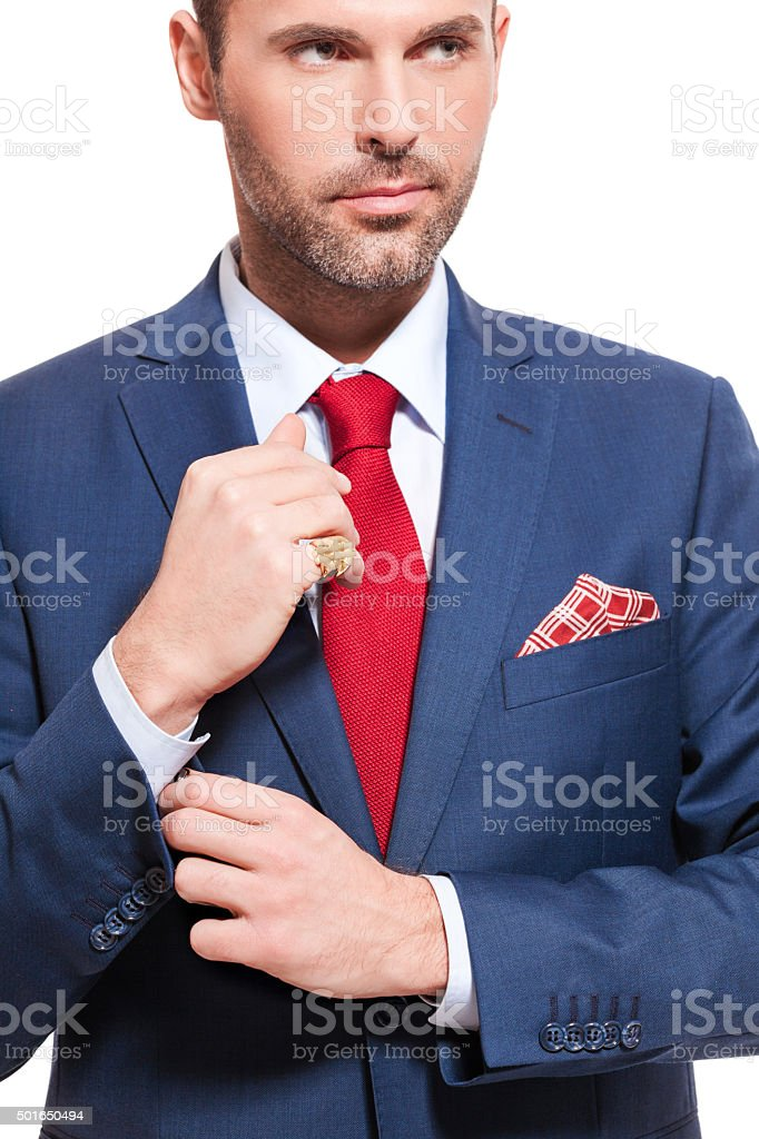 Elegant businessman wearing suit Portrait of elegant businessman wearing suit. Standing against white background. Close up of torso and hands. Adult Stock Photo
