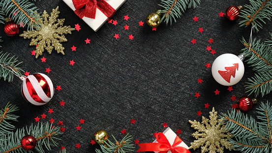 Discount background. White gifts with blue bow falling on black background for Black Friday banner. Flying backdrop with space for text