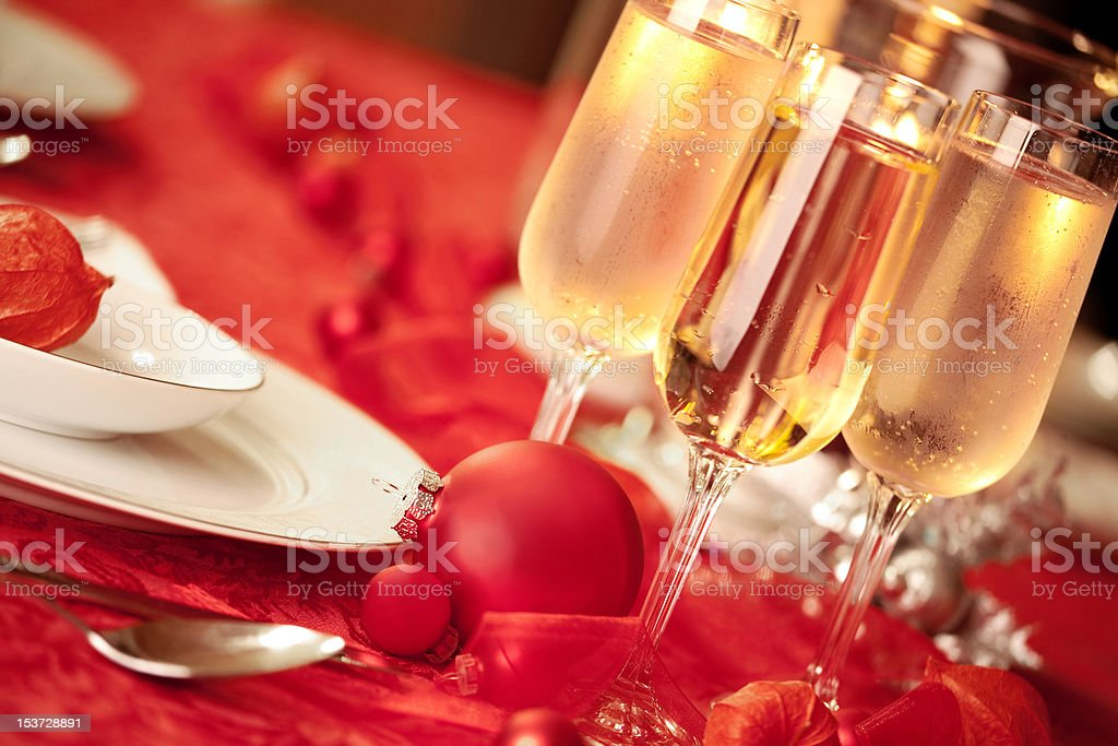 Elegant Christmas table setting in red royalty-free stock photo