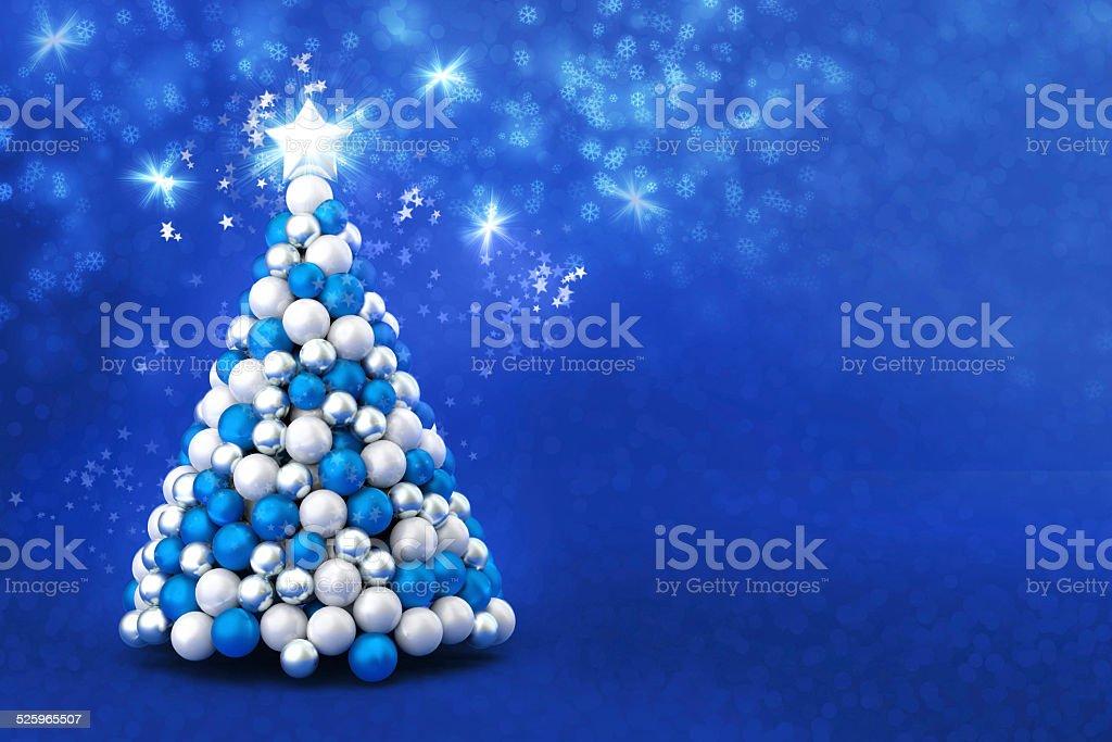Albero Di Natale Con Decorazioni Blu : Elegante albero di natale con stelle sfondo blu fotografie stock e