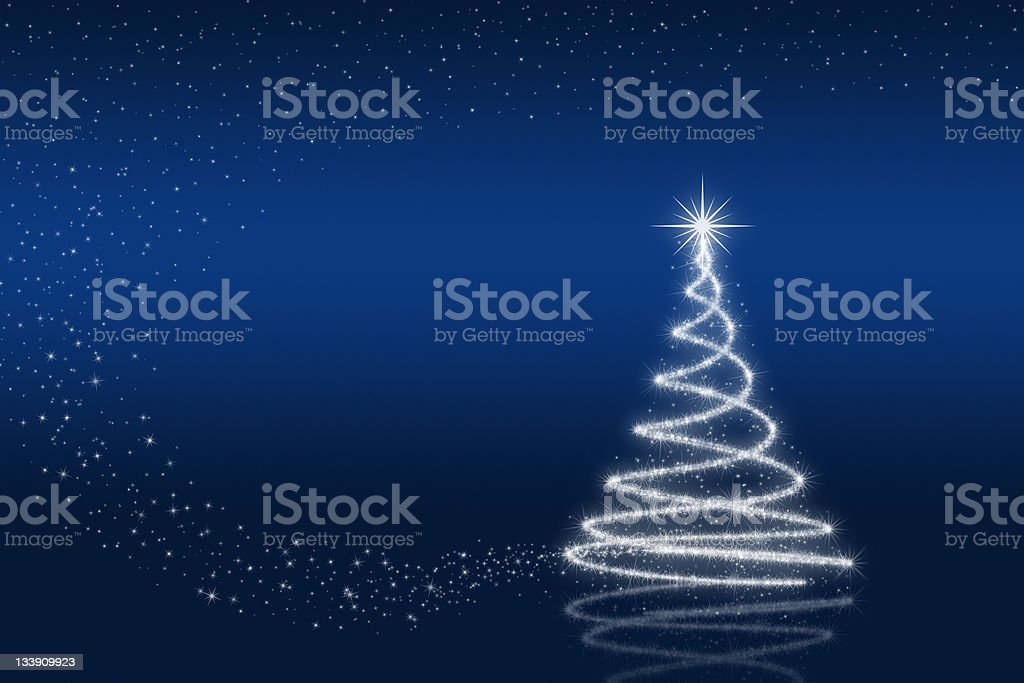 Elegant christmas tree with stars royalty-free stock photo