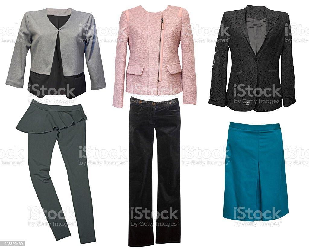 Elegant classic female clothes collage. Woman wear set. stock photo