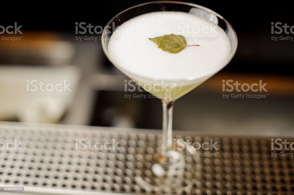 Elegant cocktail glass filled with fresh alcoholic drink decorated with birch leaf stock photo