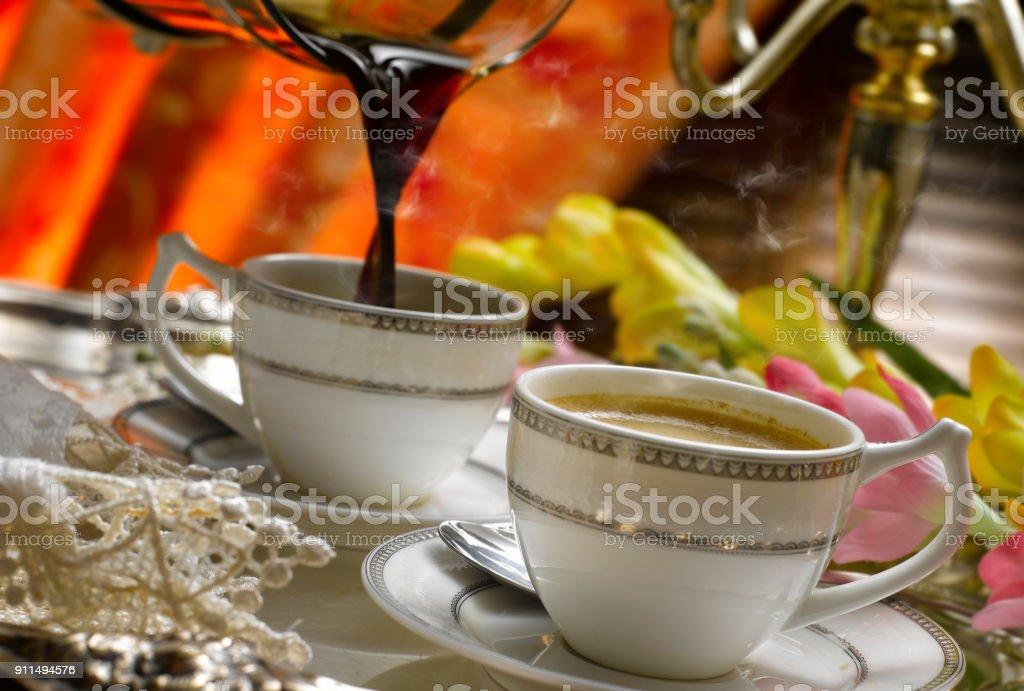 elegant coffee stock photo
