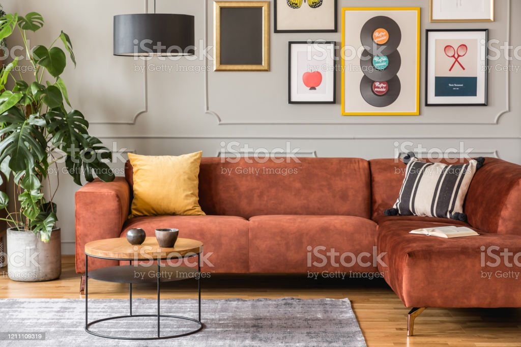Elegant Coffee Table In Front Trendy Sofa In Modern Living Room Interior With Grey Wall Stock Photo Download Image Now Istock
