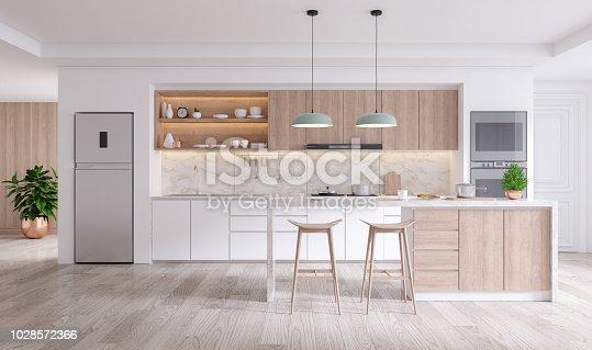 istock elegant contemporary kitchen room interior .3drender 1028572366