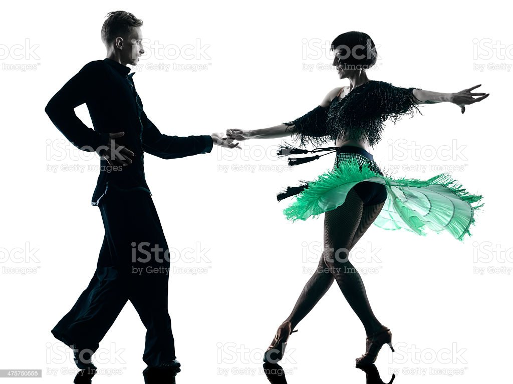 elegant couple dancers dancing silhouette stock photo