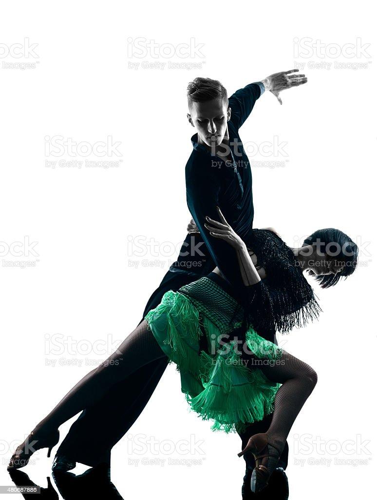 elegant couple dancers dancing silhouette stock photo