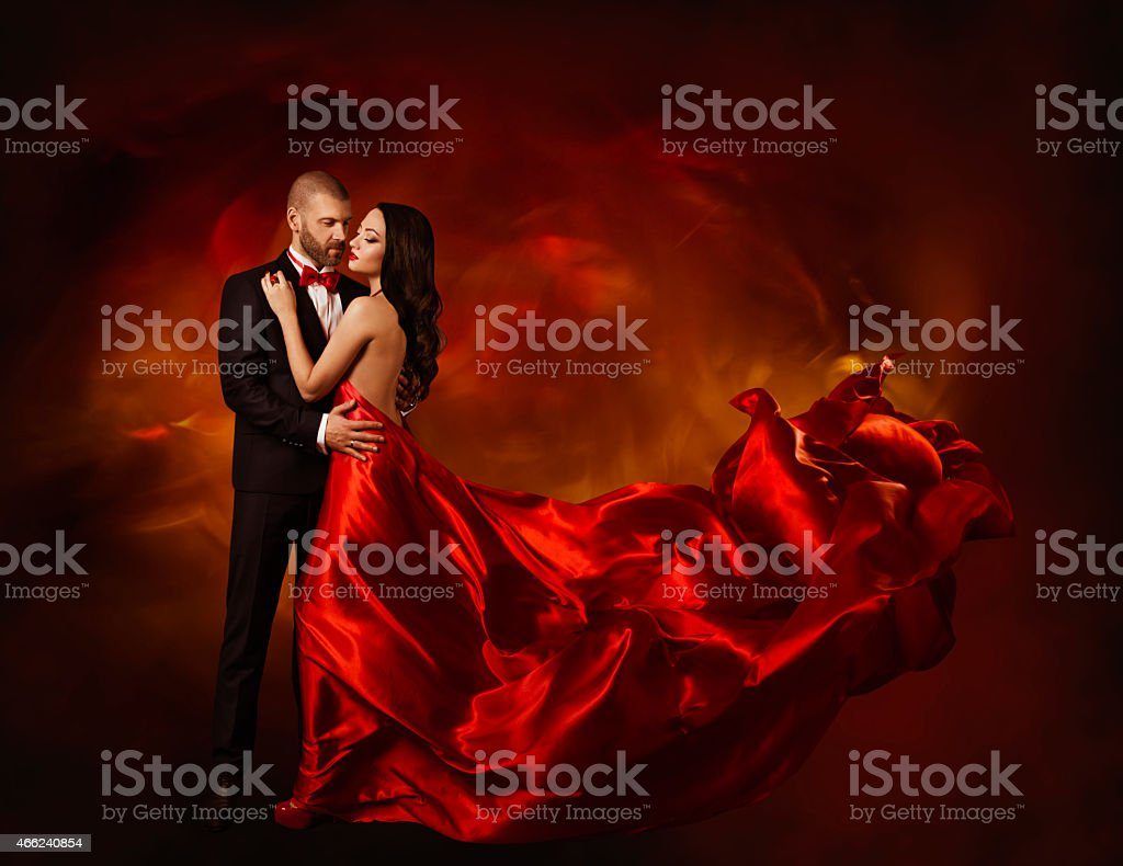 Elegant Couple Dancing in Love, Woman and Man Beauty Portrait stock photo