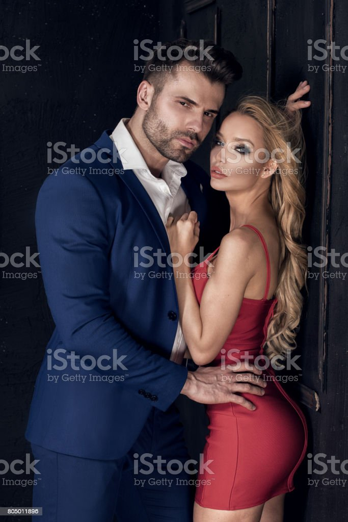 Elegant couple posing together. stock photo