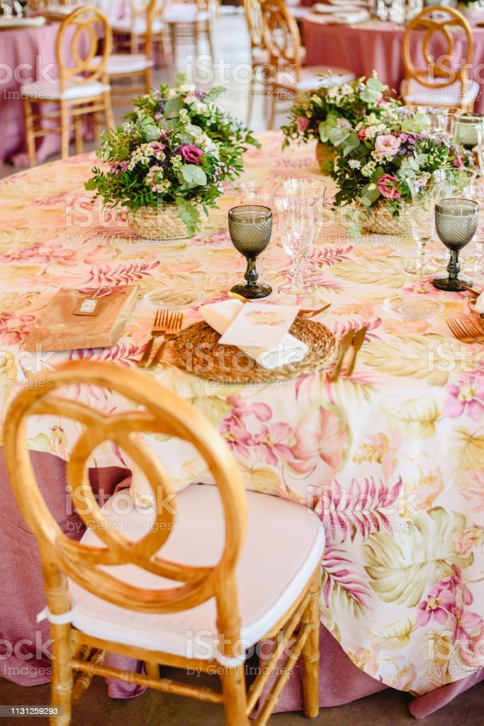 Elegant Cutlery And Floral Arrangements For A Table In A Wedding Restaurant With Vintage Style Centerpieces Stock Photo Download Image Now Istock