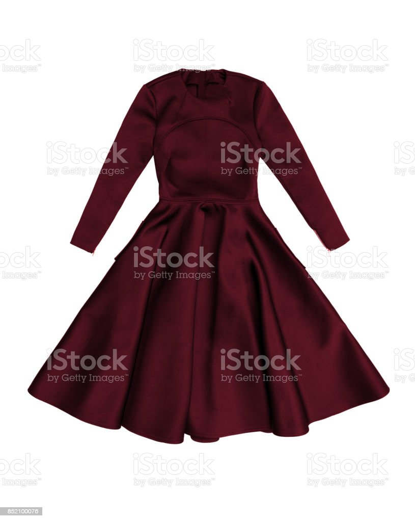 elegante dunkel rot satin abend kleid mit langen Ärmeln stockfoto und mehr  bilder von 1950-1959