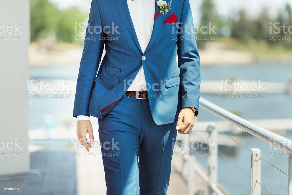 Elegante Einrichtung Auf Mann Hochzeit Anzug Lizenzfreies Stock Foto