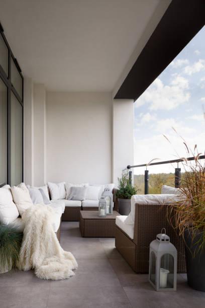 Elegant designed balcony stock photo
