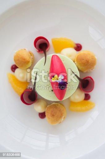 istock Elegant dessert in the plate, molecular gastronomy, haute couture dessert 918308466