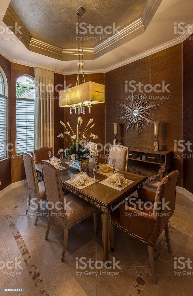 Elegant Dining Room in Southwest Florida Home stock photo