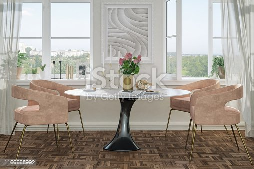 Picture of elegant dining chairs and a round table with decoration. Render image.