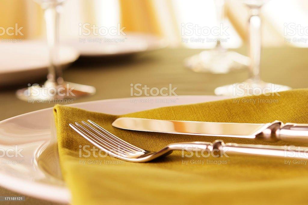Elegant dinner table setting royalty-free stock photo