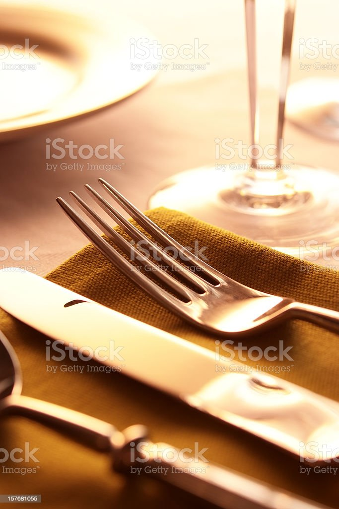 Elegant dinner table setting with shallow depth of field royalty-free stock photo