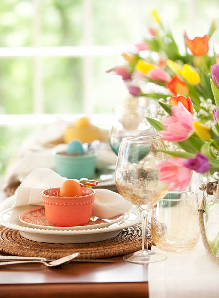 elegant easter and special occasion dining brunch - easter brunch stock photos and pictures