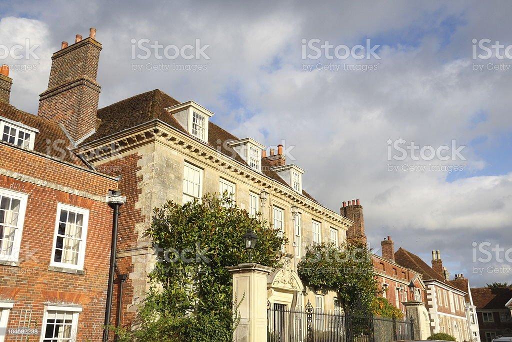 Elegant Eighteenth Century Houses Lining Cathedral Close, Salisbury, England stock photo