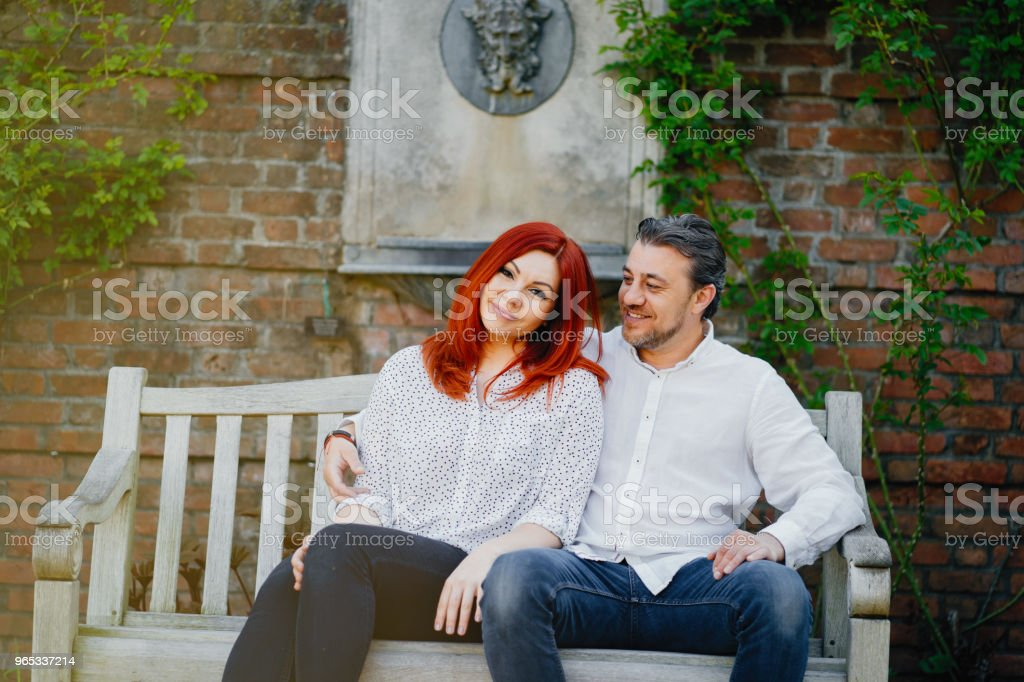 elegant family in a park royalty-free stock photo