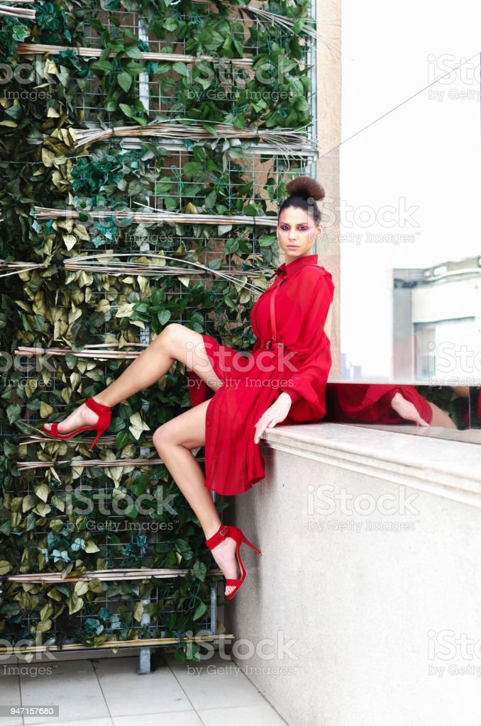 7d2239fb2fb3 Elegant Fashionable Woman Wearing Red High Heels And Red Dress Sit ...