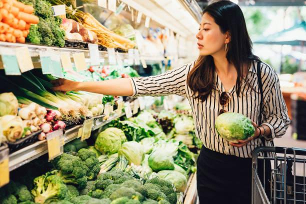 elegant female grocery shopping stock photo