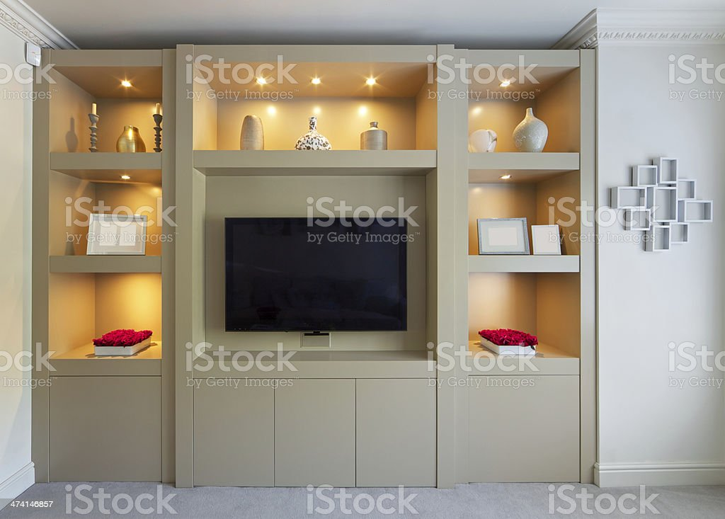 elegant fitted TV unit royalty-free stock photo
