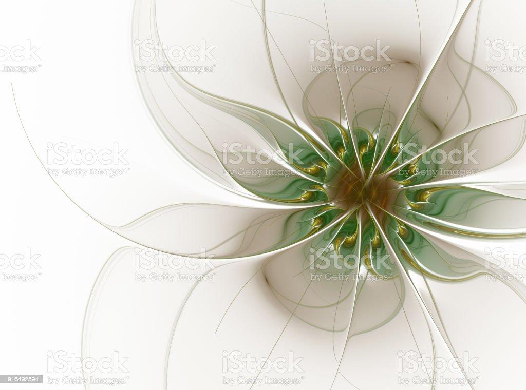 Elegant floral fractal design in soft graded pastel shades. stock photo