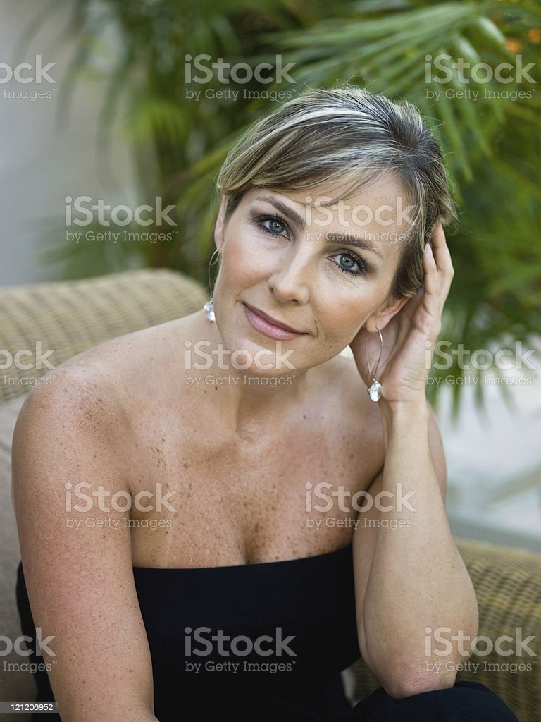 elegant forty something eastern european housewife stock photo