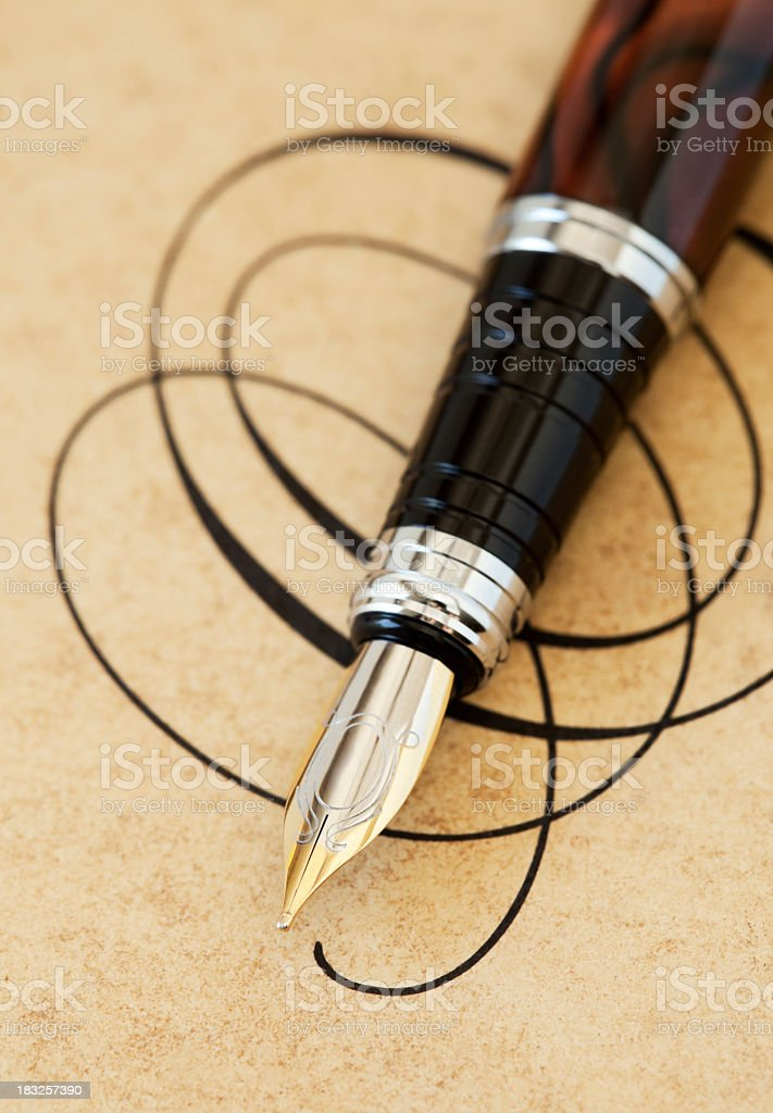 Elegant fountain pen stock photo