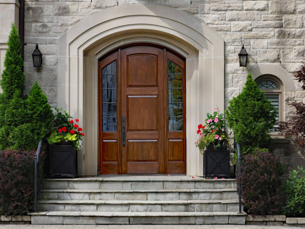 elegant front door of stone house with flagstone steps elegant front door of stone house with flagstone steps stone house stock pictures, royalty-free photos & images