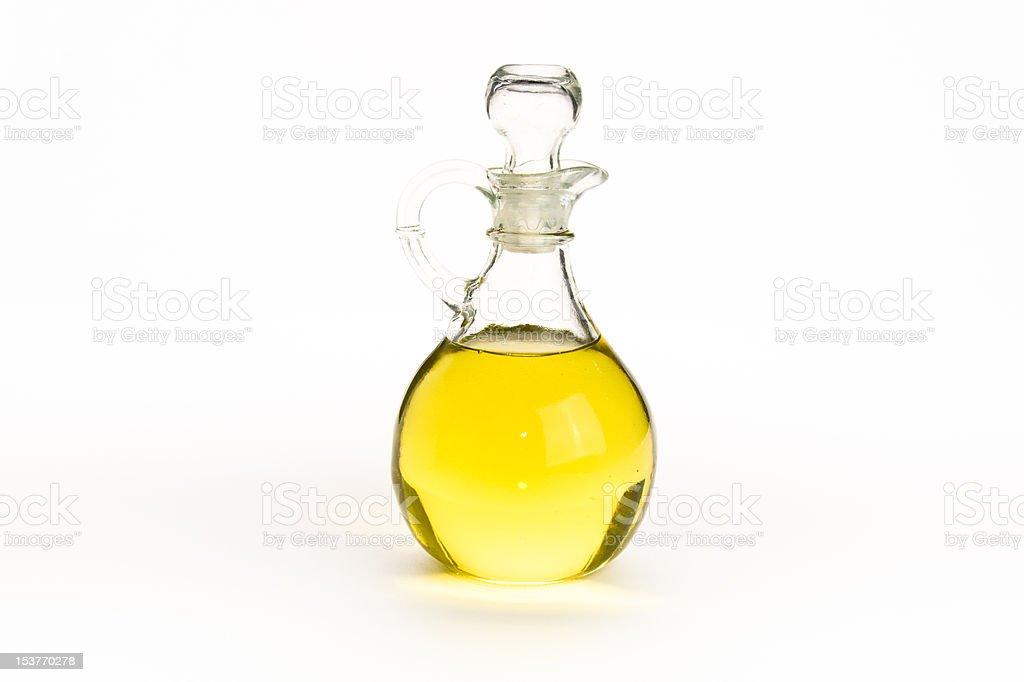 Elegant glass bottle of olive oil stock photo